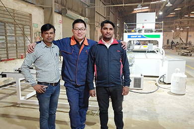 Automatic HF board joining production line scene in India