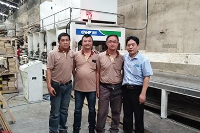 HF board joining machine scene in Thailand
