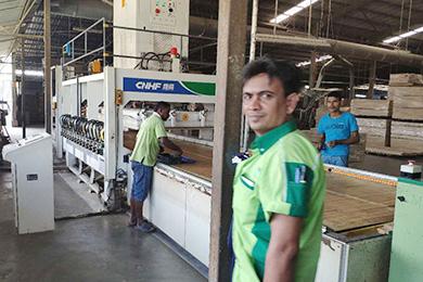 HF board joining machine scene in Malaysia