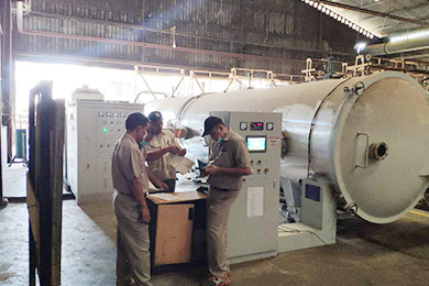 HF timber dryer machine scene in Indonesia